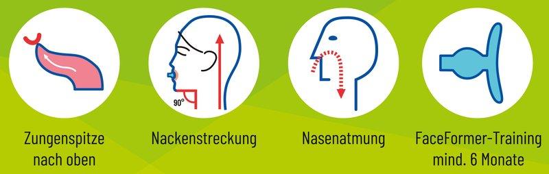 Übungsanleitung - Wichtige Therapie-Elemente - Zungenposition, Nackenstreckung, Nasenatmung, FaceFormer Training